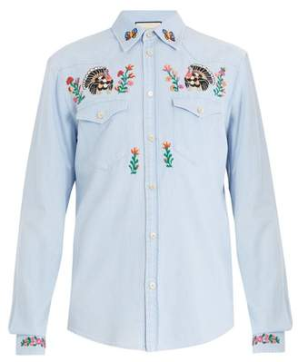 Gucci Point Collar Floral Embroidered Denim Shirt - Mens - Blue