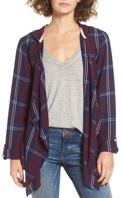 Roxy City Plaid Drape Front Cardigan $59.50 thestylecure.com