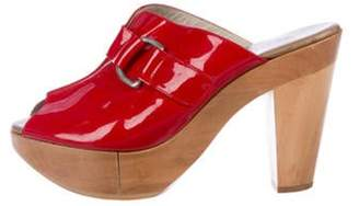 Clergerie Patent Leather Slide Sandals Red Patent Leather Slide Sandals