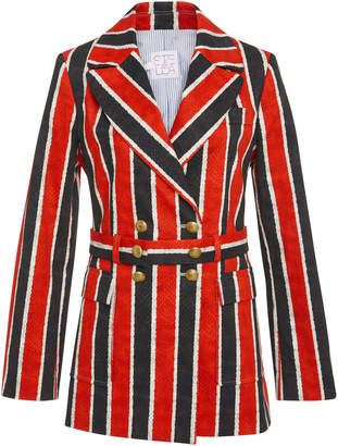 Stella Jean Belted Striped Cotton-Blend Blazer