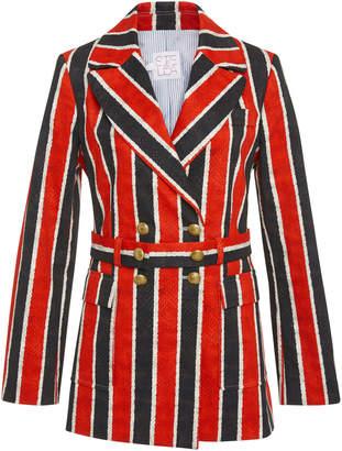 Stella Jean Belted Striped Cotton-Blend Blazer
