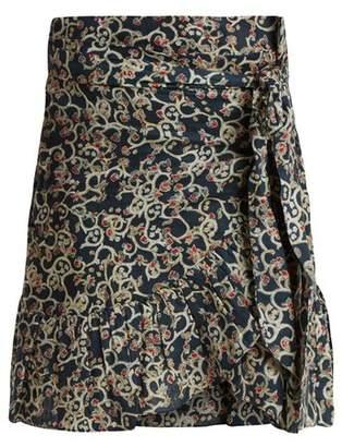 Isabel Marant etoile - Tempster Abstract Print Linen Wrap Skirt - Womens - Black Print