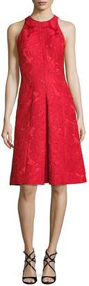 Carmen Marc Valvo Women's Floral Jacquard A-Line Dress