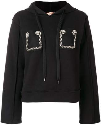 No.21 embroidered hoodie
