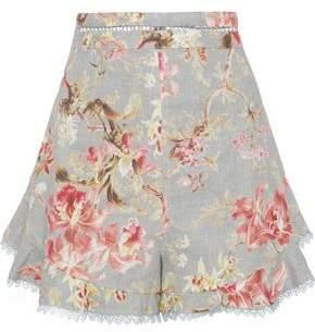 Zimmermann Mercer Flutter Lace-Trimmed Floral-Print Linen And Cotton-Blend Shorts