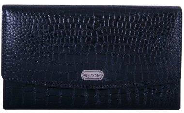 Women's Leatherbay Accordian Croc Leather Wallet - Black