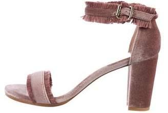 Stuart Weitzman Fringe-Trimmed Velvet Sandals