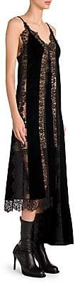 Stella McCartney Women's Lingerie Asymmetric Velvet & Lace Slip Dress