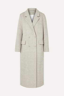 Ganni Woodside Crystal-embellished Checked Wool-blend Coat - Light gray