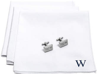Asstd National Brand Personalized White Handkerchief Set with Zircon Jewel Cufflinks