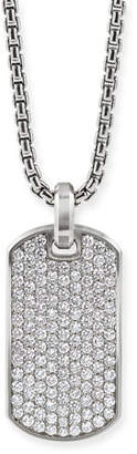 David Yurman Men's Streamline Silver Dog Tag with Diamonds, 35mm