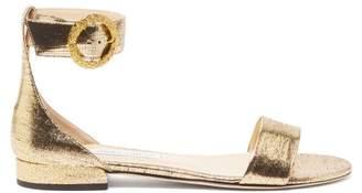 Jimmy Choo Jaimie Metallic Leather Sandals - Womens - Gold