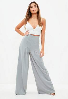 Missguided Gray Pleated Wide Leg Pants