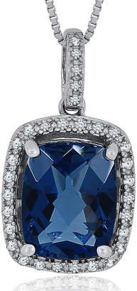 FINE JEWELRY 1/8 CT. T.W. Diamond & Genuine London Blue Topaz Sterling Silver Pendant