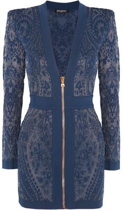 Balmain - Paisley-intarsia Stretch-knit Mini Dress - Blue $2,325 thestylecure.com