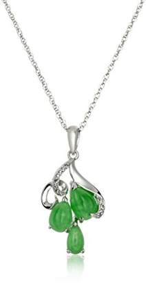 Sterling Genuine Treated Green Jade and Diamond Accent Organic Triple Teardrop Pendant Necklace
