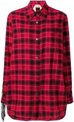 No.21 fringed plaid flannel shirt