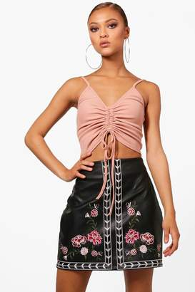 boohoo Florence Embroidered Leather Look A Line Skirt