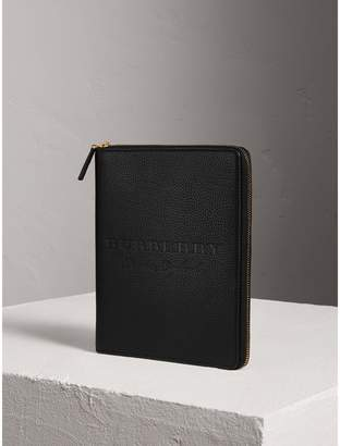 Burberry Embossed Leather Ziparound A5 Notebook Case