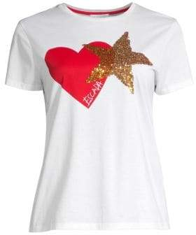 Escada Sport Heart& Sequin Star Tee