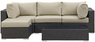 Modway Sojourn 5 Piece Sunbrella Sectional Set with Cushions