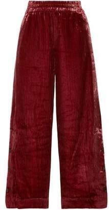 By Malene Birger Clamirana Striped Velvet Wide-Leg Pants