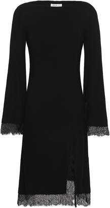 ADEAM Lace-trimmed Ribbed Silk Dress