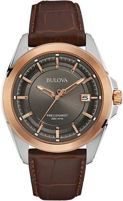 Bulova UHF Precisionist Mens Brown Leather Strap Watch 98B267