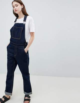 WÅVEN Thea Rinse Indigo Denim Overall's with Wolf Embroidery