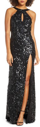 Mac Duggal Sequin Cowl Back Gown