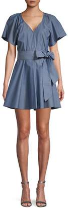 Parker Chambray Flutter Sleeve Fit-&-Flare Dress