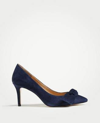 Ann Taylor Frannie Suede Bow Pumps