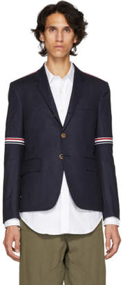 Thom Browne Navy Elastic Stripe Seamed Armhole Single-Breasted Blazer