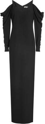 Halston Floor Length Gown with Cold Shoulders and Draped Sleeves