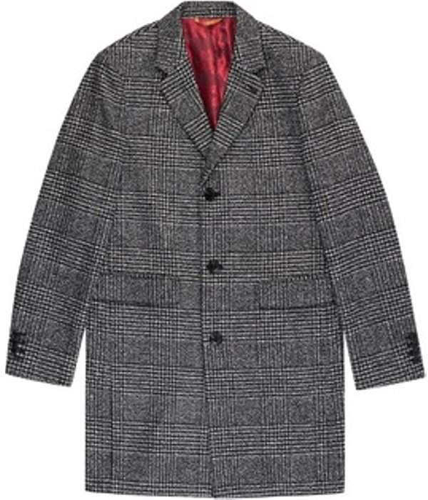 Womens **Burton Grey Large Check Faux Wool Chesterfield Overcoat