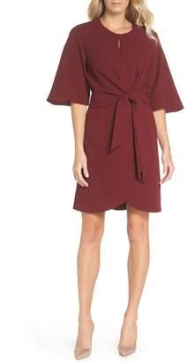 Tahari Tie Front Crepe Dress
