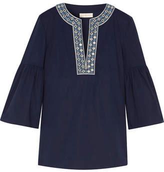 Tory Burch Arianna Embellished Stretch-cotton Poplin Blouse - Midnight blue