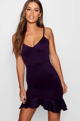 boohoo Petite Ponte Frill Hem Dress