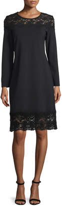 Neiman Marcus Mag By Magaschoni Long-Sleeve Lace-Inset Sheath Dress, Black Lace