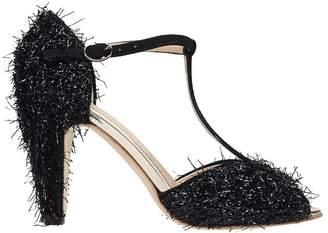 Anniel Black Glitter Fringe Butterfly Sandals