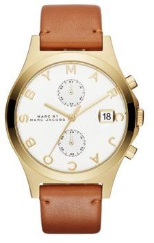 Marc by Marc Jacobs Slim Chrono Goldtone Stainless Steel & Leather Strap Chronograph Watch/Cognac $250 thestylecure.com