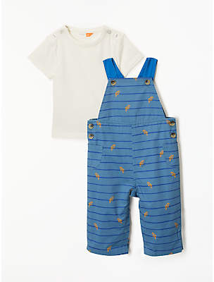 John Lewis Organic Cotton Parrot Dungaree and T-Shirt Set, Multi