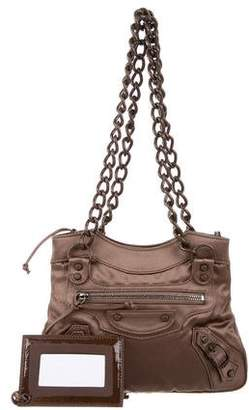 Balenciaga Motocross Satin Classique Shoulder Bag