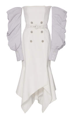 Jonathan Simkhai Twill Tailored Off The Shoulder Handkerchief Dress