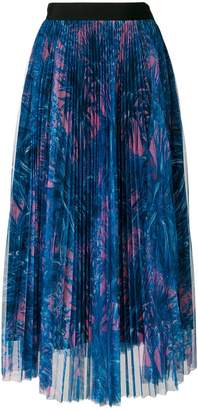 MSGM pleated garden print tulle skirt