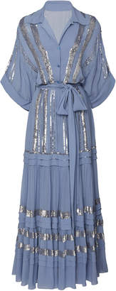 Temperley London Sable Sequin-Embellished Chiffon Midi Dress