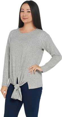 Vince Camuto Knot Front Long-Sleeve Rib Knit Top