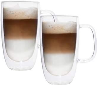 Brilliant Double Double Glass Coffee Mug 325 ml (Set of 2)