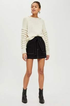 Topshop Petite Belted Denim Skirt