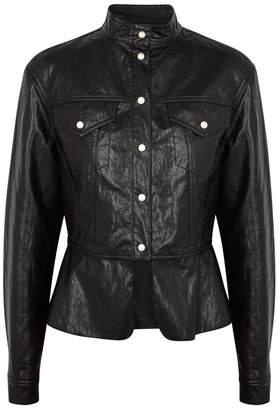 Philosophy di Lorenzo Serafini Black Patent Faux Leather Jacket